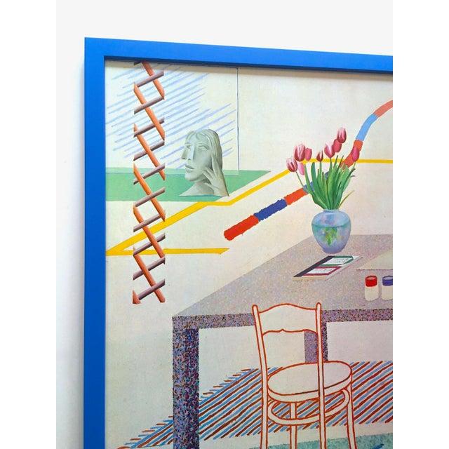 """David Hockney David Hockney Vintage 1977 Lithograph Print Framed Pop Art Exhibition Poster """" Self Portrait With Blue Guitar """" For Sale - Image 4 of 13"""