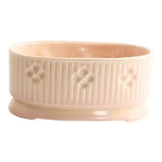 1950s Vintage Matte Pink Glaze Ceramic Planter With Flower Design For Sale