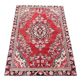 Vintage Floral Bessarabian Turkish Kilim Rose Rug - 3′11″ × 6′6″ For Sale