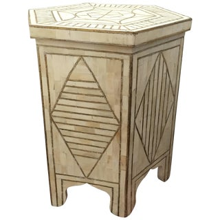 Bone and Brass Inlay Side Table With Geometric Modern Design For Sale