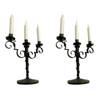 Raymond Subes Pair of Refined Wrought Iron Candlesticks For Sale
