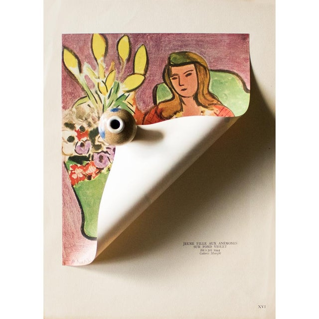 """Henri Matisse 1946 H. Matisse """"Girl With Anemones on Purple Background"""", Original Parisian Lithograph For Sale - Image 4 of 8"""