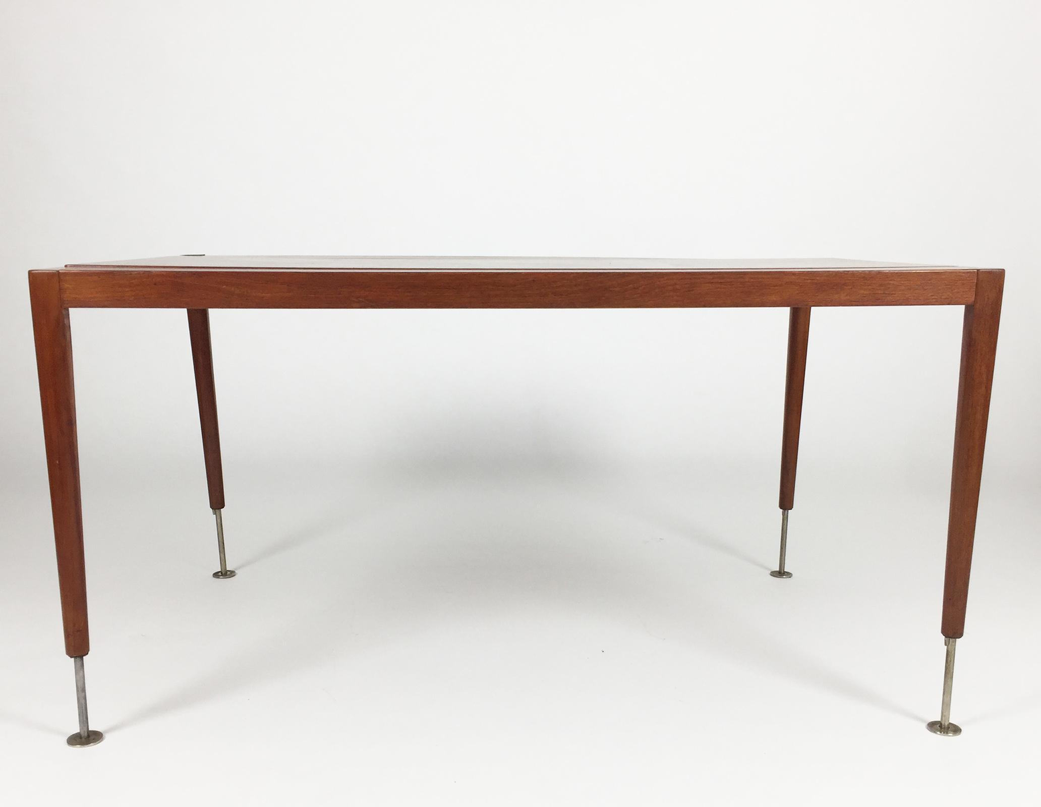 Adjustable Danish Elevator Table With Chrome Legs 1960