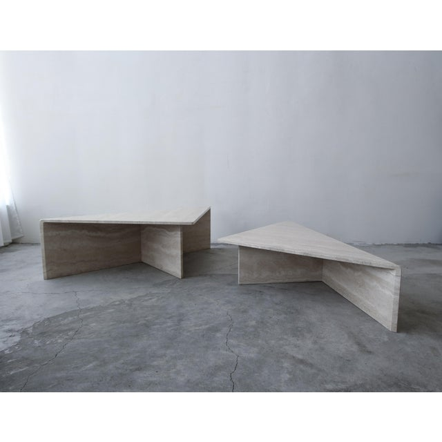 Classic Postmodern tiered Italian travertine coffee table. Simple beautiful piece. Table is of modernist and minimal...