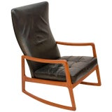 Image of Danish Teak and Leather High Back Rocking Chair by Ole Wanscher For Sale