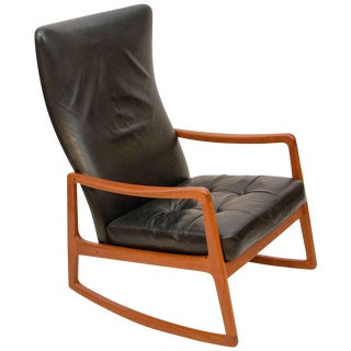 Danish Teak and Leather High Back Rocking Chair by Ole Wanscher For Sale