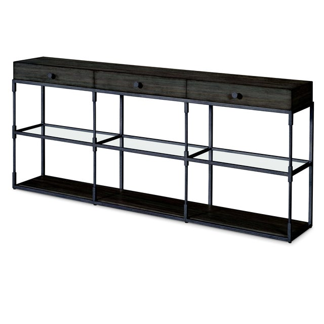 This piece is available only as shown, and will ship in 2-3 weeks. This contemporary, clean-lined triple console table...