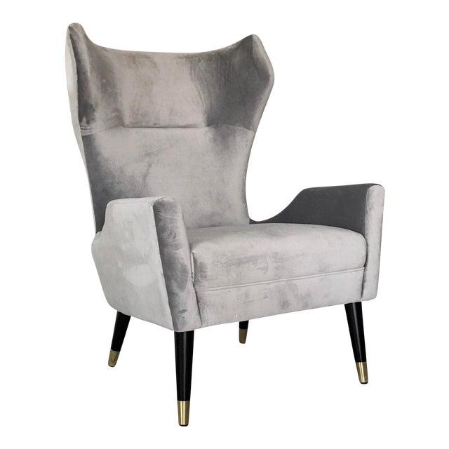 Grey Velvet Italian Modern Style Wingback Chair For Sale