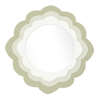 Fleur Home x Chairish Audobon Magnolia Circle Mirror in Cooking Apple Green, 30x30 For Sale