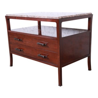 Baker Furniture Mahogany Marble Top Buffet Server For Sale