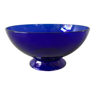 Vintage Cobalt Blue Glass Bowl For Sale