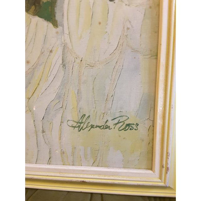 Dazzling shades of soft yellow, green and aqua make up this Botanical Dreamscape. Mid-century modern print of a signed...