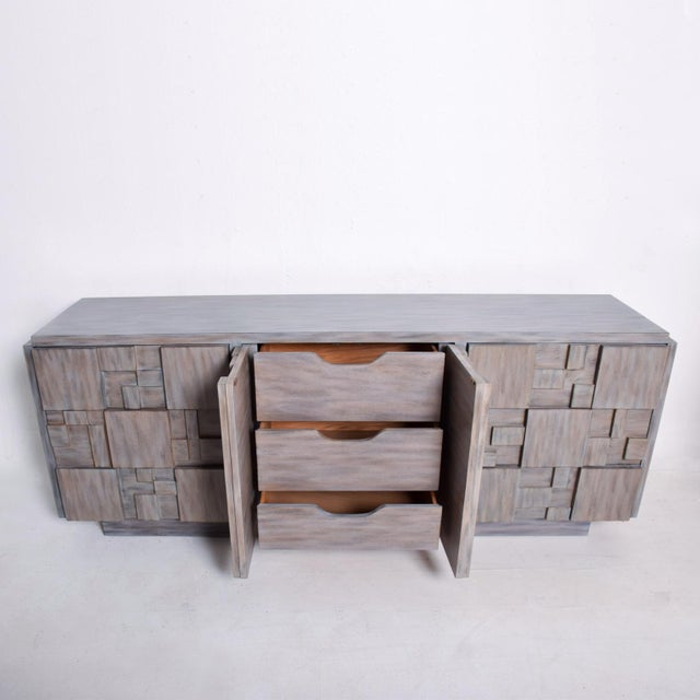 1970s Mid-Century Modern Brutalist Dresser with Lane Patchwork Walnut Tiles For Sale - Image 5 of 10