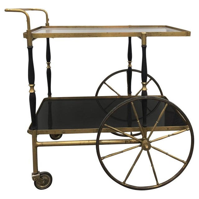 Metal Mid-Century Italian Brass Bar Cart by Morex For Sale - Image 7 of 7