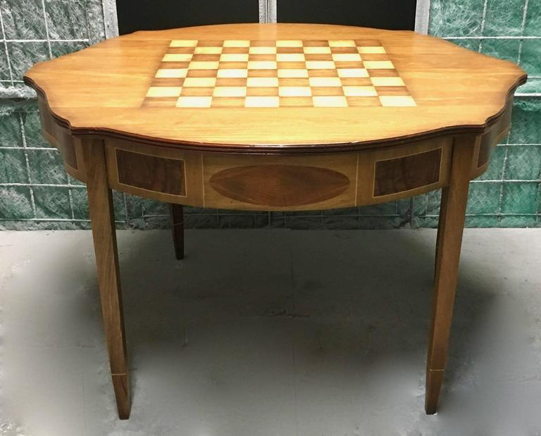 Demilune Inlay Mahogany Folding Checker Game Table   Image 2 Of 7