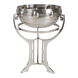 Silverplate Modern Bowl on Stand For Sale