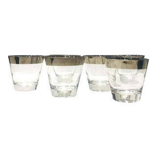 1960s Barware Glasses with Silver Overlay by Dorothy Thorpe - Set of 6 For Sale
