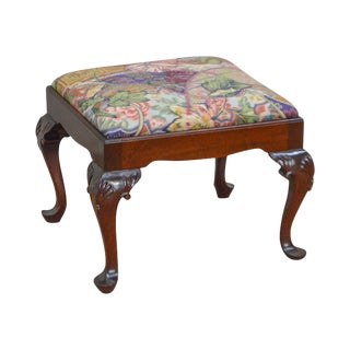 Queen Anne Style Crafted Solid Mahogany Footstool Bench