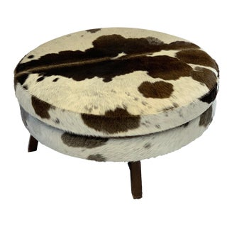 Modern Ted Boerner Round Cowhide Ottoman For Sale