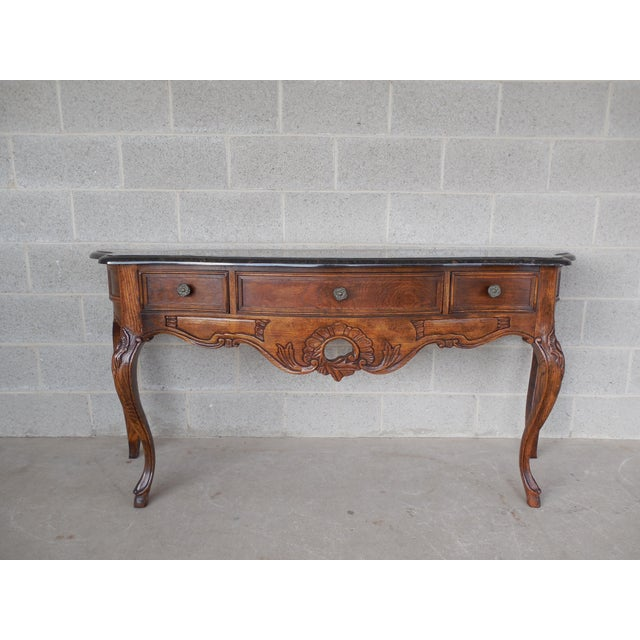 """CENTURY FURNITURE CO. Oak French Country Faux Marble Top Console 66.5""""Wide (A) For Sale - Image 9 of 9"""