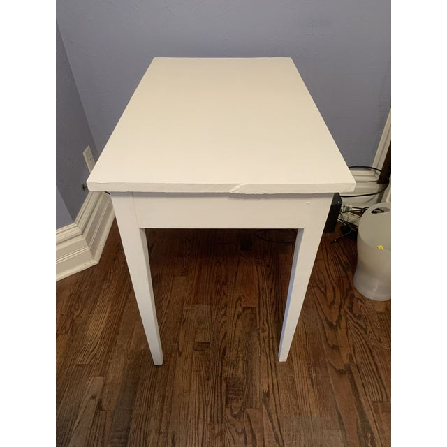 Wood 1960s Boho Chic Desk Painted in White Chalk Paint For Sale - Image 7 of 13