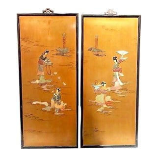 Antique Chinese Jade & Hardstone Wall Panels - A Pair