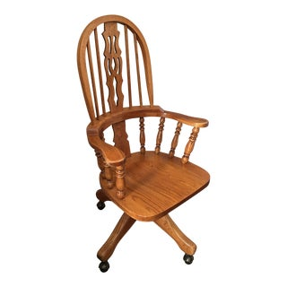 High Back Swivel Oak Office Chair For Sale