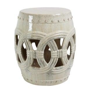 White Ceramic Rope Garden Stool For Sale