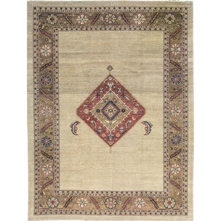 2010s Traditional Hand Woven Brown and Ivory Wool Rug - 9' X 11'11