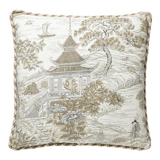 Satomi Hand Block Print Pillow with Trim in Silver For Sale