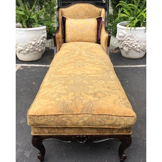 Antique Louis XV Style Down Fuller Chaise Lounge Fainting Couch W Albatross Chenille Preview