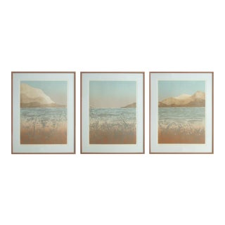 Modern Large Triptych Artist Originals Engraved Serigraphs of Mountains and Water, Set of 3 For Sale