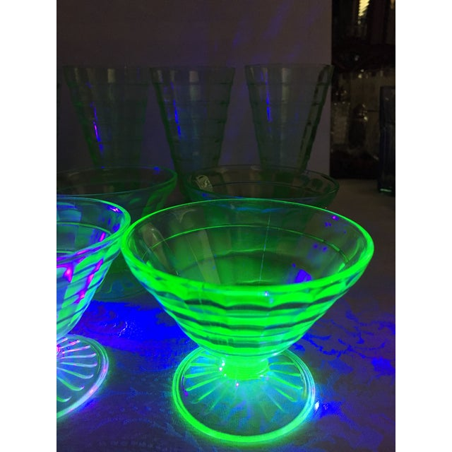 Mid-Century Modern Green Uranium Glass Footed Sherbets - Set of 6 For Sale - Image 9 of 9