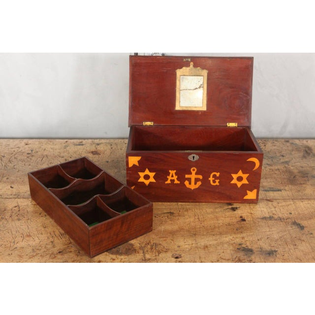 Antique Inlaid Sailor Box For Sale - Image 5 of 6