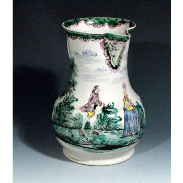 Antique English Saltglaze Cider Jug with Figural Polychrome Decoration, Mid-18th Century. For Sale - Image 11 of 11