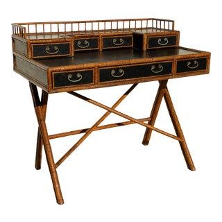Classic Bamboo and Lacquer Campaign Desk E. Murio Collection For Sale