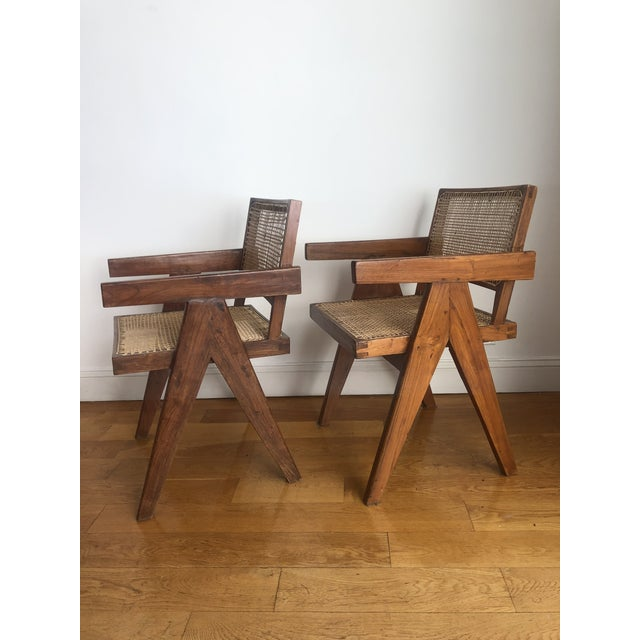 Pierre Jeanneret Caned Armchairs - a Pair For Sale - Image 9 of 11