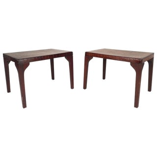 Mid-Century Modern Alligator Embossed Leather Top End Tables - A Pair For Sale