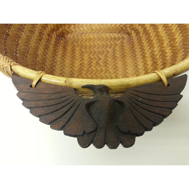 Woven Rattan Carved Wooden Handle Basket For Sale - Image 4 of 6