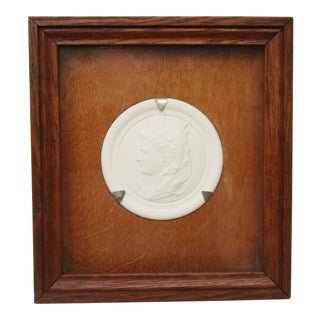 Commemorative Bisque Classical Medallion Encased in Oak Box For Sale