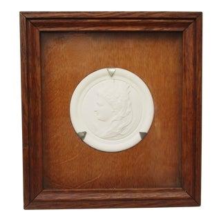 Commemorative Bisque Classical Medallion Encased in Oak Box For Sale
