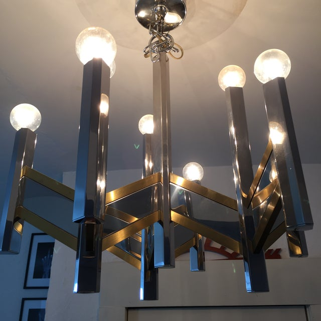 Sciolari Brass and Chrome 12 Bulb Chandelier - Image 9 of 10