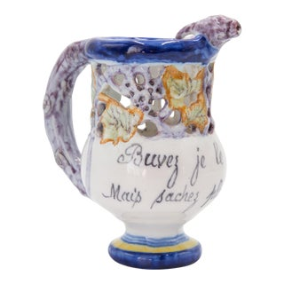 French Faience Quimper Puzzle Jug Pitcher For Sale
