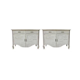 Contemporary Simon Two-Drawer Cabinets - a Pair,Wooden Cabinet for Living Room, Rustic Style, Green Wash, Cream Color For Sale