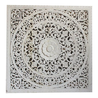 White Teak Carved Panel 60""