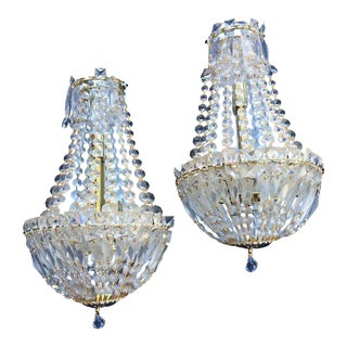 Hollywood Regency Glam Crystal Wall Sconces - a Pair
