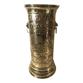 20th Century English Traditional Brass Embossed Umbrella Stand For Sale