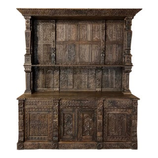 Monumental 19th Century Renaissance English Two-Tiered Open Bookcase For Sale