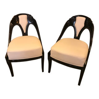 Antique Art Deco Black Lacquer and Cream Upholstered Chairs - a Pair For Sale