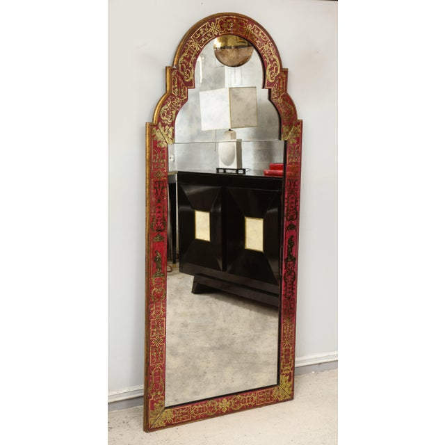 "Queen Anne Queen Anne Reverse-Painted ""Verre Eglomise"" Mirror For Sale - Image 3 of 10"